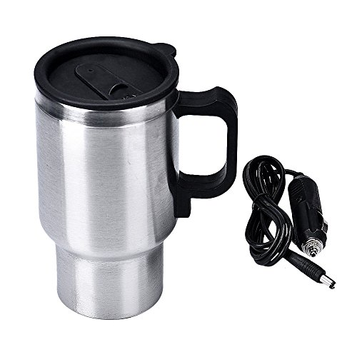 DC 12V Silver Stainless Steel Car Heating Cup Electric Mug Thermos Type Heating Hot Drink Electric Kettles Auto Supplies (Hot Water Bath Pot compare prices)