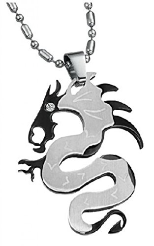 LUNA Stainless Rhinestone Womens Mens Cheap Dragon Pendant Necklace Jewelry Black