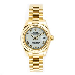Rolex Ladys President New Style Heavy Band 18k Yellow Gold Model 179178 Fluted Bezel White Roman Dial