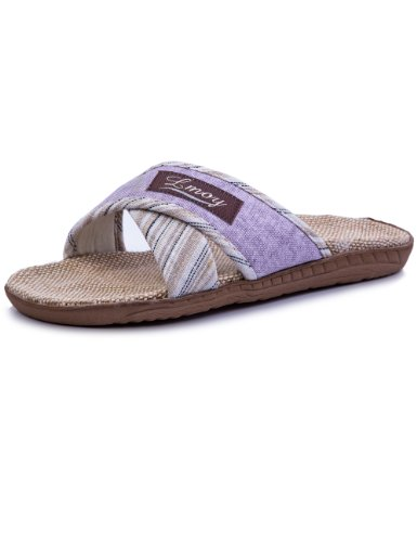 Lmoy Women's Open Toe Linen & Jute House Sippers