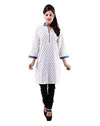 Albelishop Women's Cotton V-Neck Kurti (FI015_XL, Blue, XL)