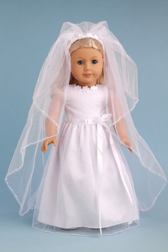 Dreamworld collections veil story white satin and for American girl wedding dress