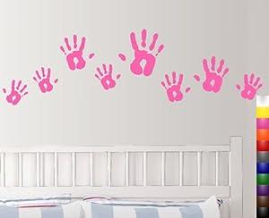 StikEez Pink Handprints Various Sizes 8-Pack Fun Wall & Window Decals
