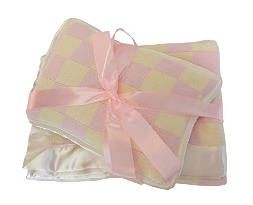 Knit Baby Blanket with Pillow (Baby Pink-cream)
