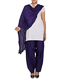 Womens Cottage Purple Pure Cotton Semi Patiala & Cotton Dupatta With Lace Set