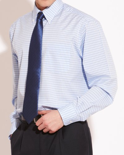Savile Row Mens Blue White Small Check Button Down Classic Fit Formal Shirt Collar Size15.5