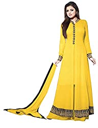 Momai Creation Women's Faux Georgette Yellow Unstitched Dress Material (MCV-LT-07)