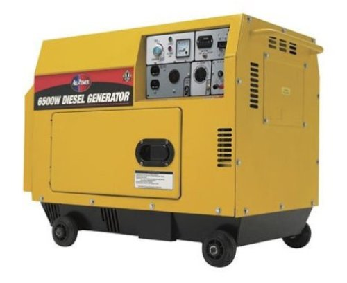 All Power America APG3202 6,500 Watt 10 HP Silent Diesel Powered Generator with Electric Start & Wheel Kit