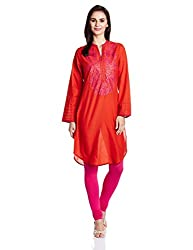 Biba Women's Cotton Straight Kurta (Solid Assorted # 9315_Orange_34)