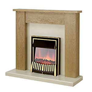 Adam New England Oak and Ivory Surround with Brass Elan Electric Fire, 2000 Watt       review and more info