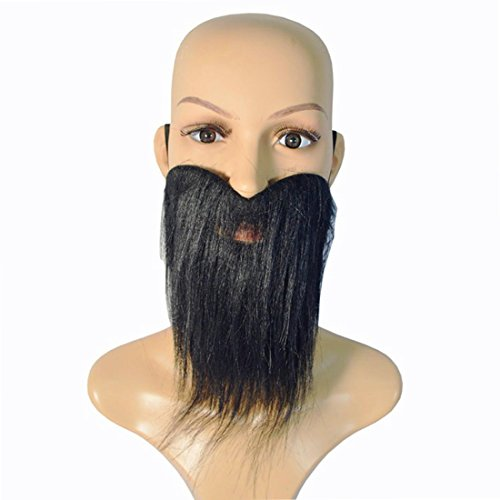 [GOTOBUYWORLD Holloween Prop Dress Up Prop Fake Beard With Moustache COS Tool Black] (Fake Beards That Look Real)