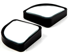 """(Pack of 2) 2"""" Adjustable Automotive Blind Spot Mirrors Sector Convex Stick- On Rear View and Rear Glass Mirrors (Black)"""