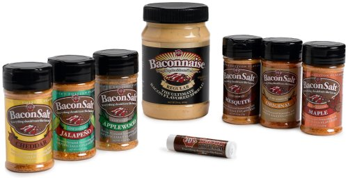 J&D's Ultimate Bacon Lover's Gift Pack (Baconnaise Bacon Flavored Spread, 6-Flavors Bacon Salt and Bacon Flavor Lip Balm)