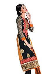Sanchey Black Georgette Dress Material