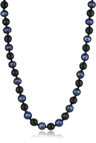 Indigo Blue Freshwater Cultured Pearl with Faceted Onyx Endless Necklace, 34