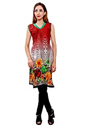Kurti Studio Festive Red White Unstitched Cotton Kurti Dress Material