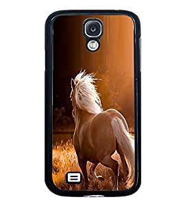 Fuson Premium 2D Back Case Cover White riding horse With blue Background Degined For Samsung Galaxy S4::Samsung Galaxy S4 i9500