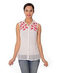Oviya Women's White and Pink Printed Tops