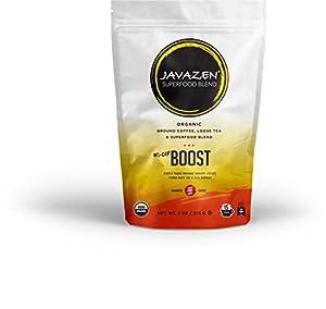 Javazen Hi-Caf Boost (Organic Dark Roast Coffee + Yerba Mate + Acai Berry) Superfood + Coffee + Tea Energy Blend