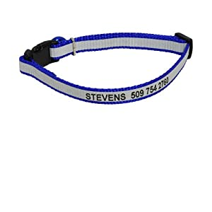 Personalized Reflective Cat Collar. Safety Release Buckle. Adjustable Size