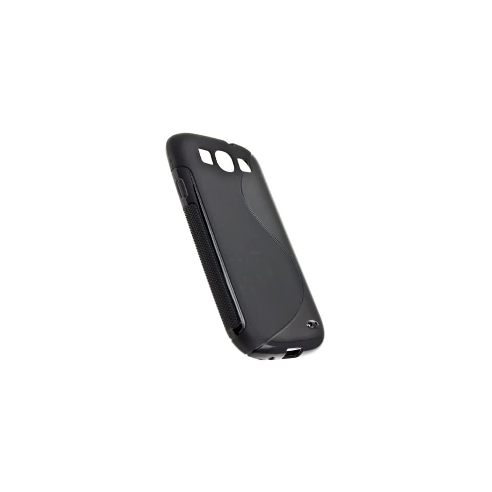 CASE123 Soft TPU Gel Grip Skin Case Cover for Samsung Galaxy S3 (AT&T/Verizon/T mobile/Sprint/International)   Black
