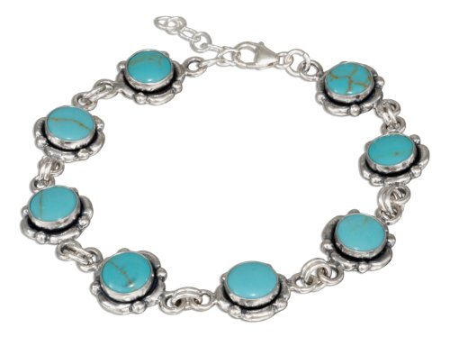 Sterling Silver 7 to 7.5 inch Adjustable Link Turquoise Concho Bracelet