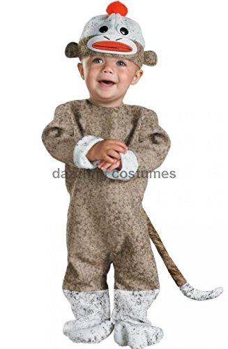 Classic Sock Monkey Infant Costume 12-18 Months Halloween Hat Tail Jumpsuit Baby