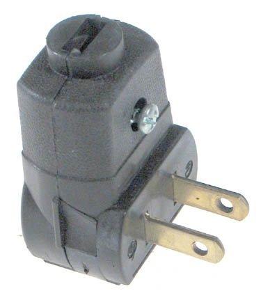 Leviton 101AN 15 Amp, 125 Volt 2-Pole 2-Wire, Non-Polarized Angle Plug, Black