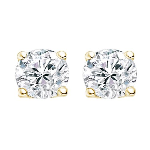 0.58 Carat D/VS1 Round Brilliant Certified Diamond Solitaire Stud Earrings in 18k Yellow Gold