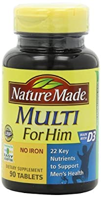 Nature Made Multi For Him Vitamin and Mineral, 90 Tablets (Pack of 4)