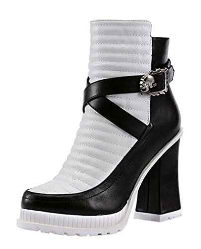 INDEX Women's Rough High-Heels Buckle Genuine Leather Shoes