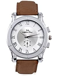 Latest Design Brown Leather Belt Watch, Round White And Silver Dial Analog Watch For Men's/Boys Classic Fashionable...