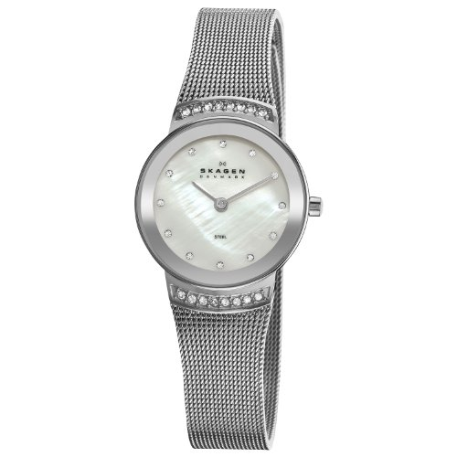 Skagen Stainless Steel White Label Women's Quartz Watch with White Dial Analogue Display and Steel Mesh Strap 812SSS