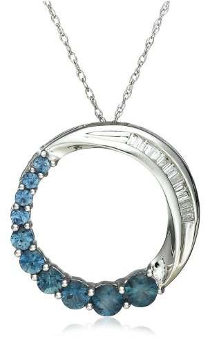 10k White Gold Shades of Blue Sapphire and Diamond Journey Circle Pendant, 18""