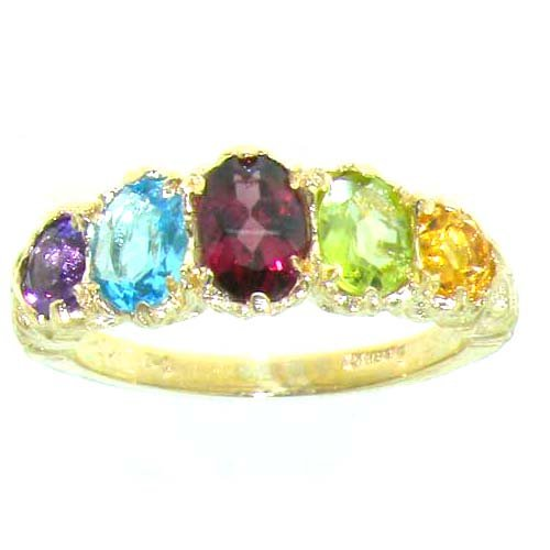 High Quality Solid 9ct Gold Natural Amethyst, Blue Topaz, Garnet, Peridot & Citrine English Victorian Ring - Size P - Finger Sizes K to Y Available - Suitable as an Anniversary, Engagement or Eternity ring
