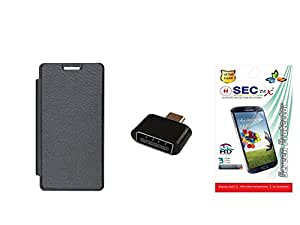 SEC Flip Cover for Samsung GALAXY A3 A300F (Black) + Micro USB OTG Adapter + Screen Guard (Combo Set)