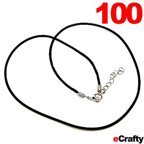 "100 Pack Black Rubber Necklace Cord 2Mm W/Lobster Clasp 18"" Diy Pendants Jewelry"