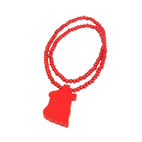 BestDealUSA Wooden Jesus Piece Rosary Necklace Christ Pendant Chain Red