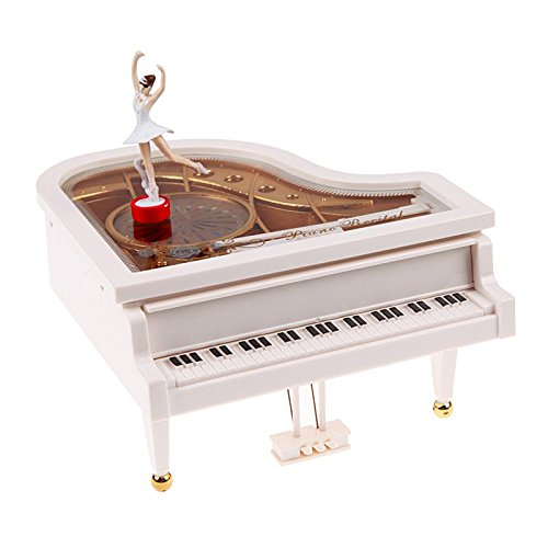 LightningStore Vintage Classical Ballerina White Grand Piano Music Box - An Excellent Gift for Children, Teens, and Adults - Light Up Your Day With Relaxing Music From This Musical Box