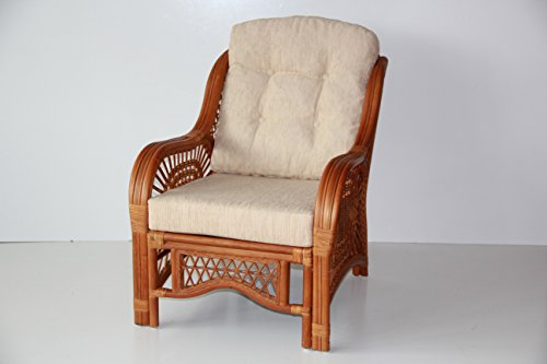 Rattan Wicker ECO Living Room Set 2 Chairs with Cream Cushions and Coffee Table Color Cognac