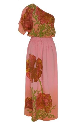 Tiff Drop Shoulder Print Maxi Dress Pink Print M