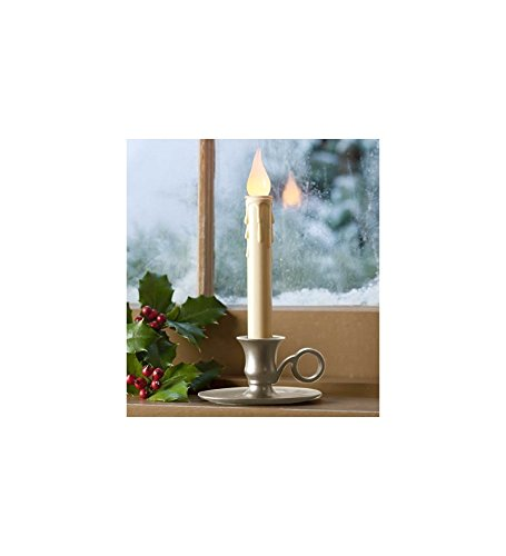 Battery-Operated Cordless Classic Candlestick With Auto Timer, In Pewter