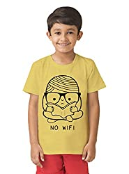 Mintees 100% Combed Cotton Boy's Graphic Print Light Yellow Colour Tshirt MBRNT07-007_4-5Yrs