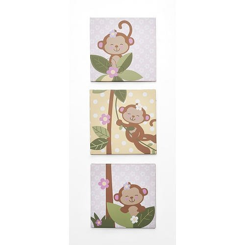 Koala Baby 3 Piece Girls Monkey Wall Art Set Babies R Us - 1