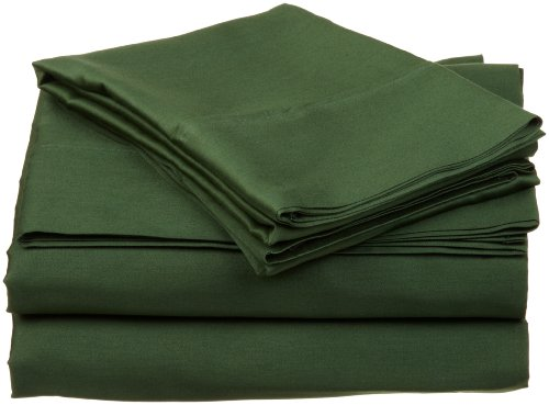 Egyptian Cotton 300 Thread Count Queen Sheet Set Solid, Hunter Green