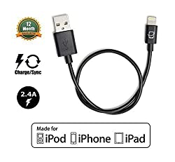 CreatePros Apple Certified Short Lightning to USB Cable for iPhone, iPad and iPod - 13 Inches (33 Centimeters) - Black