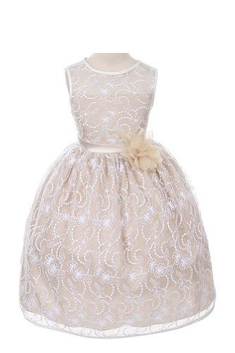Girl'S Elegant Flower Girl Party Holiday Dress - White Lace/Champagne 2