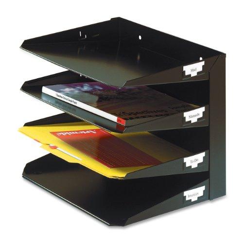 MMF Industries 4-Tier Letter-Size Horizontal Steel Desk Organizer, Black (264R4HBK)