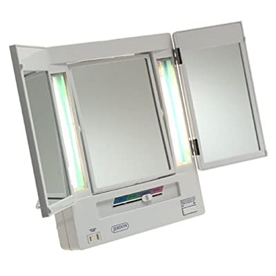 Jerdon 5x Magnification Tri Fold Lighted Makeup Vanity