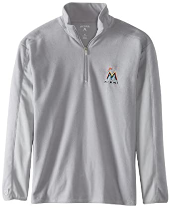Miami Marlins Jacket - MLB Antigua Mens Frost Pullover Silver by Antigua